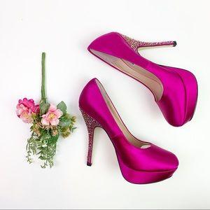 Steve Madden Party Pumps Pink Satin Crystal Heel